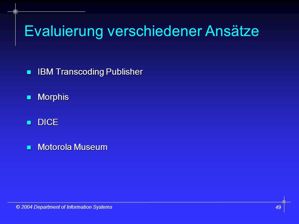 49 © 2004 Department of Information Systems Evaluierung verschiedener Ansätze n IBM Transcoding Publisher n Morphis n DICE n Motorola Museum