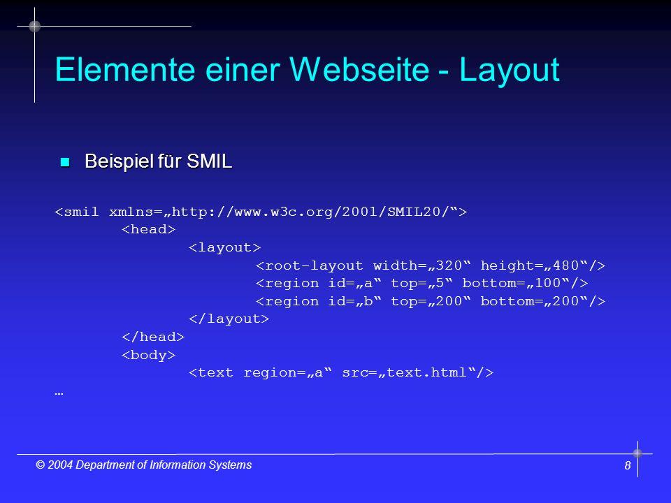 8 © 2004 Department of Information Systems Elemente einer Webseite - Layout n Beispiel für SMIL …