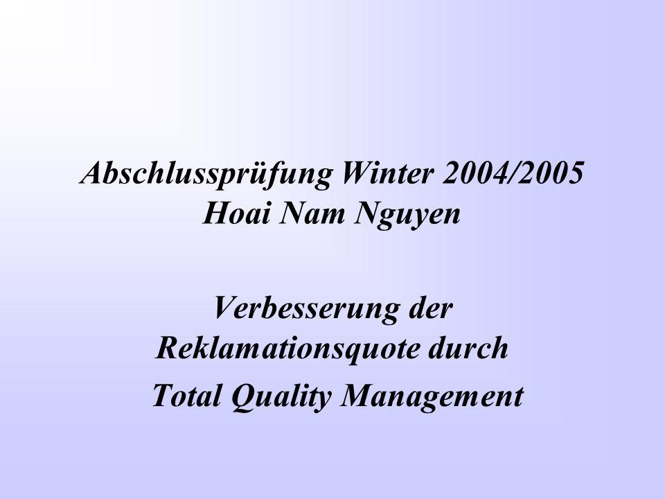 Abschlussprüfung Winter 2004/2005 Hoai Nam Nguyen Verbesserung der Reklamationsquote durch Total Quality Management