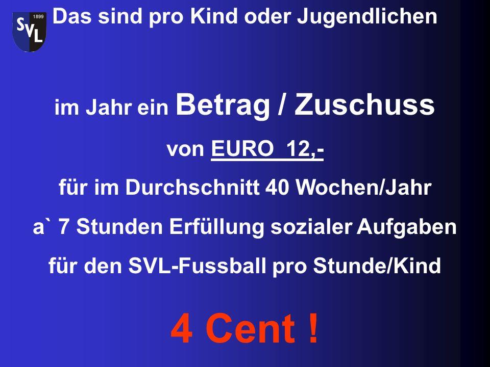 Hierfür erhalten wir von der Gemeinde Karlsbad eine Zuschuss für die Jugendarbeit von EURO 990,- & von der SVL-Hauptkasse von EUR 1170,- Insgesamt = E