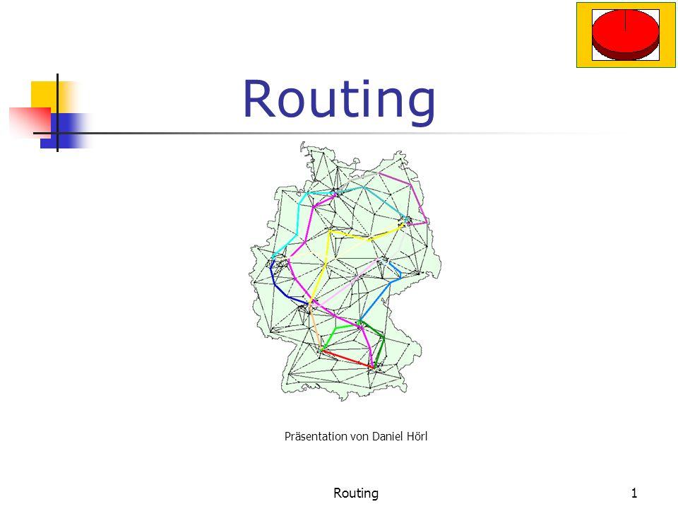 Routing11 Link State Aus diesen Informationen wird eine.Topologie aufgebaut Optimale Route wird berechnet Verbindung wird geprüft Zwischen Routern werden Informationen für die Verbindung ausgetauscht Protokolle: OSPF (Open shortest Path First)