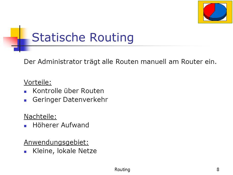 Routing8 Statische Routing Vorteile: Kontrolle über Routen Geringer Datenverkehr Nachteile: Höherer Aufwand Anwendungsgebiet: Kleine, lokale Netze Der Administrator trägt alle Routen manuell am Router ein.