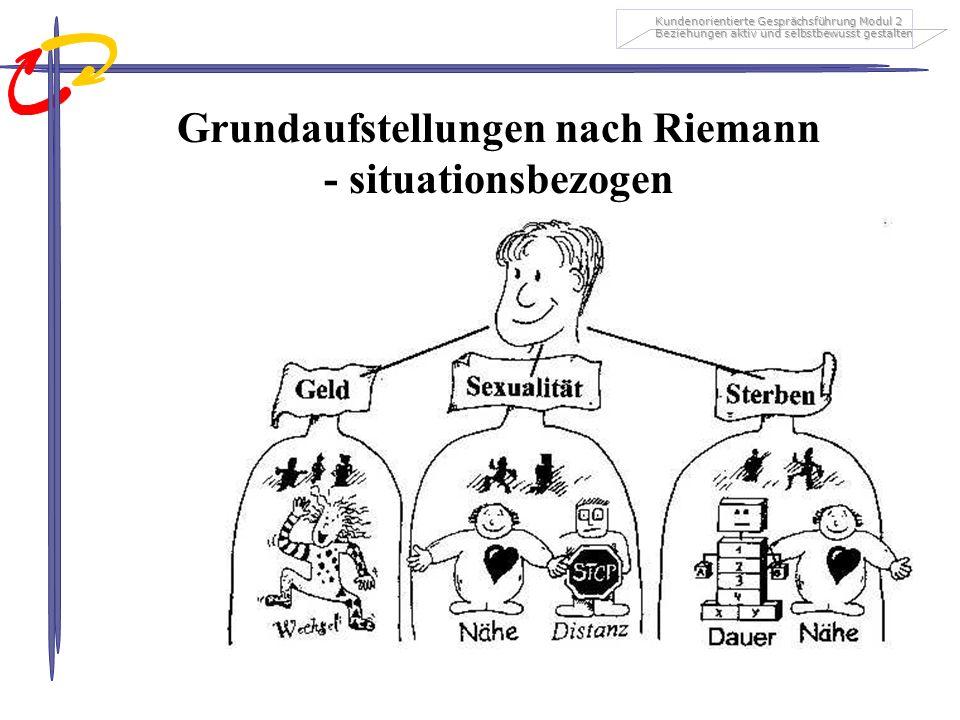Kundenorientierte Gesprächsführung Modul 2 Beziehungen aktiv und selbstbewusst gestalten Grundaufstellungen nach Riemann - situationsbezogen