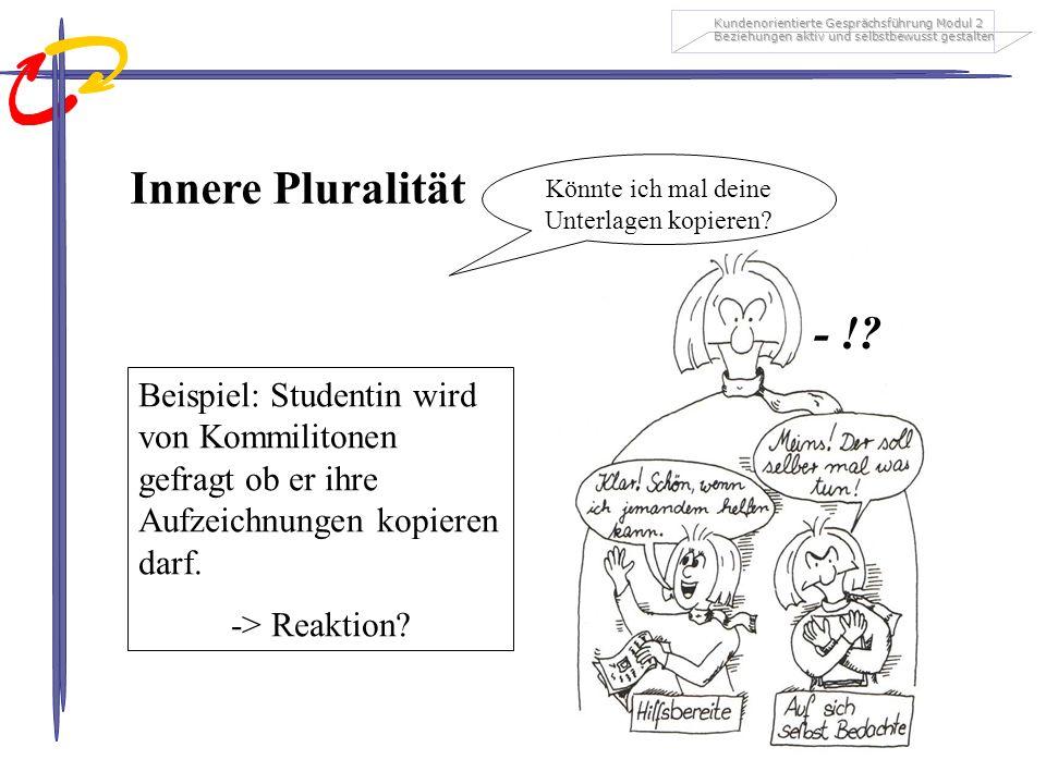 Kundenorientierte Gesprächsführung Modul 2 Beziehungen aktiv und selbstbewusst gestalten Innere Pluralität Beispiel: Studentin wird von Kommilitonen g