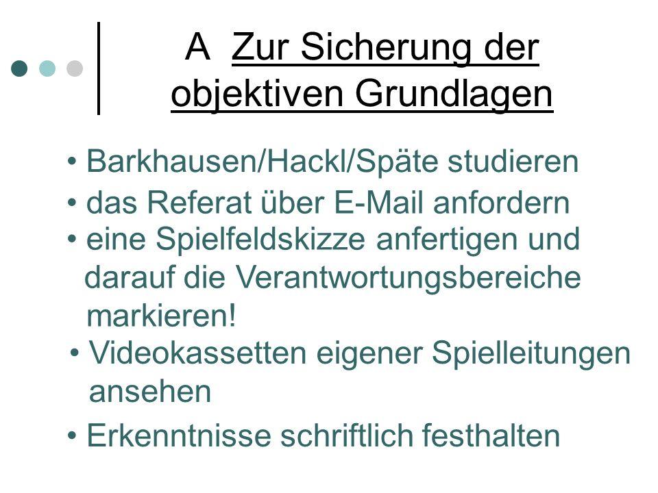 A Zur Sicherung der objektiven Grundlagen Barkhausen/Hackl/Späte studieren das Referat über E-Mail anfordern eine Spielfeldskizze anfertigen und darauf die Verantwortungsbereiche markieren.