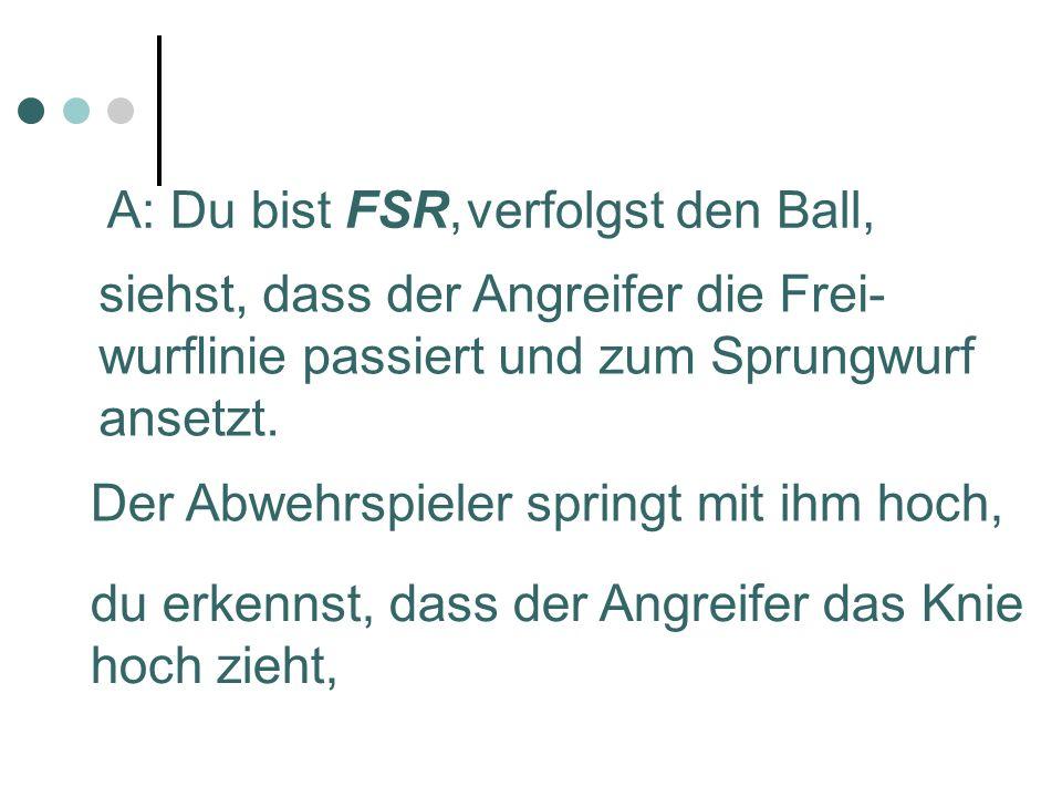 A: Du bist FSR,verfolgst den Ball, siehst, dass der Angreifer die Frei- wurflinie passiert und zum Sprungwurf ansetzt.