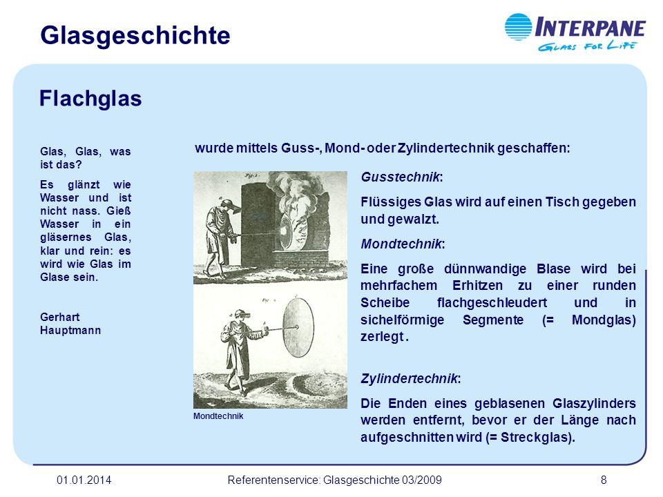 01.01.2014Referentenservice: Glasgeschichte 03/20099 Glasbestandteile am Beispiel von Flachglas.