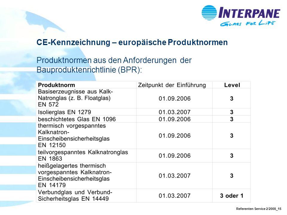 Referenten Service 2/2008_15 CE-Kennzeichnung – europäische Produktnormen Produktnormen aus den Anforderungen der Bauproduktenrichtlinie (BPR):