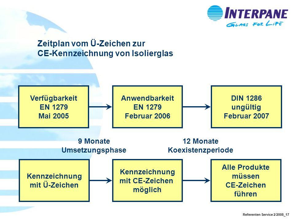 Referenten Service 2/2008_17 Verfügbarkeit EN 1279 Mai 2005 9 Monate Umsetzungsphase Anwendbarkeit EN 1279 Februar 2006 12 Monate Koexistenzperiode DI