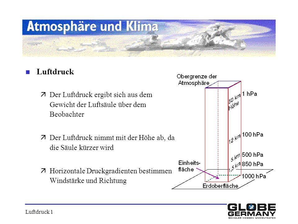n Luftdruck äDer Luftdruck ergibt sich aus dem Gewicht der Luftsäule über dem Beobachter äDer Luftdruck nimmt mit der Höhe ab, da die Säule kürzer wir