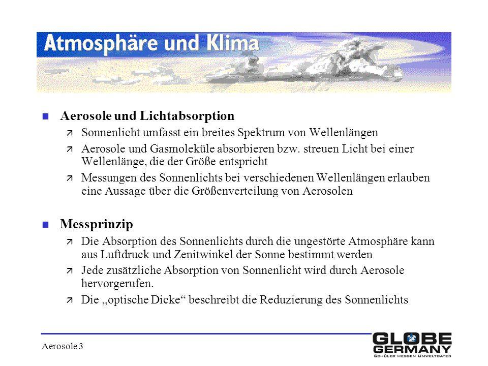 Aerosole 3 n Aerosole und Lichtabsorption ä Sonnenlicht umfasst ein breites Spektrum von Wellenlängen ä Aerosole und Gasmoleküle absorbieren bzw. stre