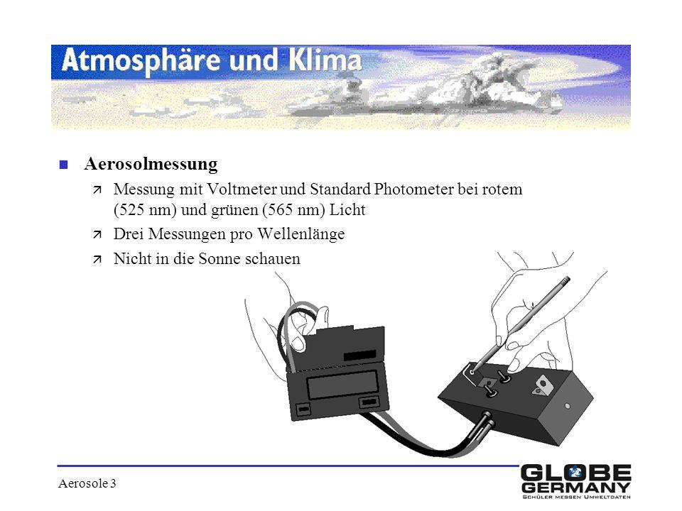 Aerosole 3 n Aerosolmessung ä Messung mit Voltmeter und Standard Photometer bei rotem (525 nm) und grünen (565 nm) Licht ä Drei Messungen pro Wellenlä