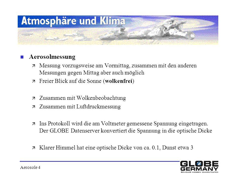 Aerosole 4 n Aerosolmessung ä Messung vorzugsweise am Vormittag, zusammen mit den anderen Messungen gegen Mittag aber auch möglich ä Freier Blick auf