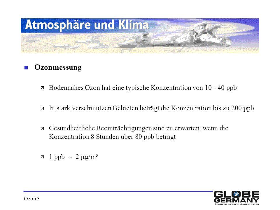 Ozon 3 n Ozonmessung ä Bodennahes Ozon hat eine typische Konzentration von 10 - 40 ppb ä In stark verschmutzen Gebieten beträgt die Konzentration bis