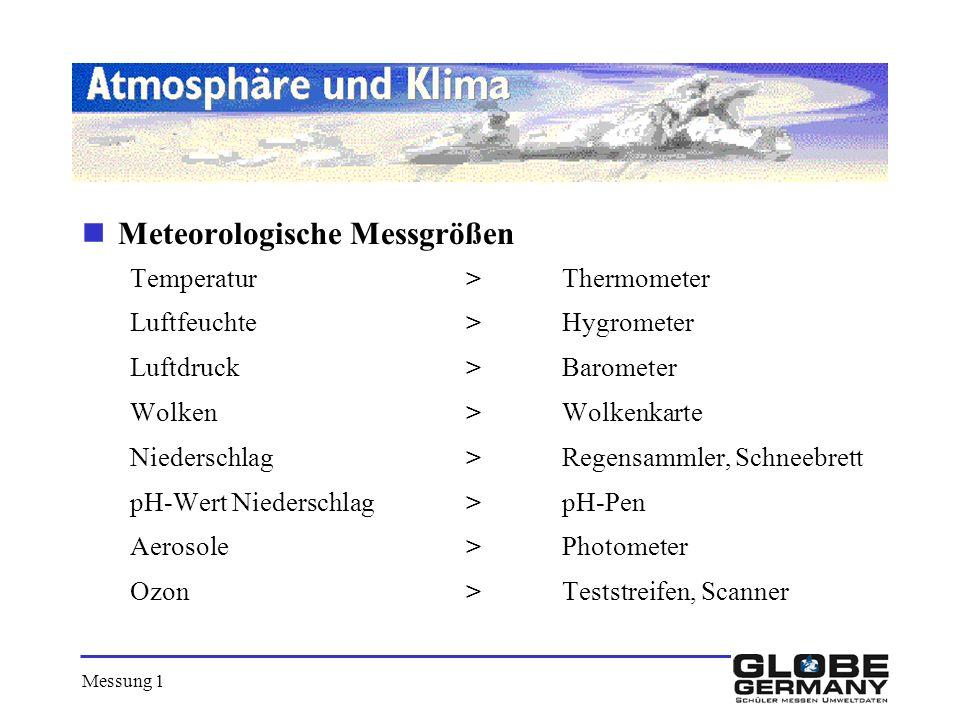 Meteorologische Messgrößen Temperatur >Thermometer Luftfeuchte>Hygrometer Luftdruck>Barometer Wolken>Wolkenkarte Niederschlag>Regensammler, Schneebret
