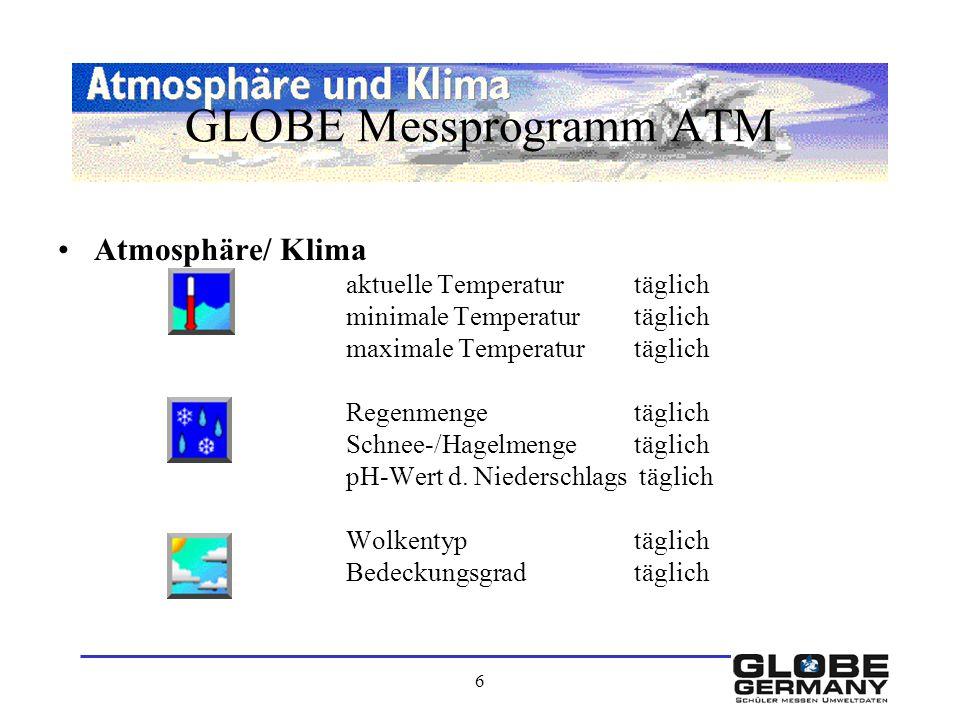 6 GLOBE Messprogramm ATM Atmosphäre/ Klima aktuelle Temperaturtäglich minimale Temperaturtäglich maximale Temperaturtäglich Regenmengetäglich Schnee-/