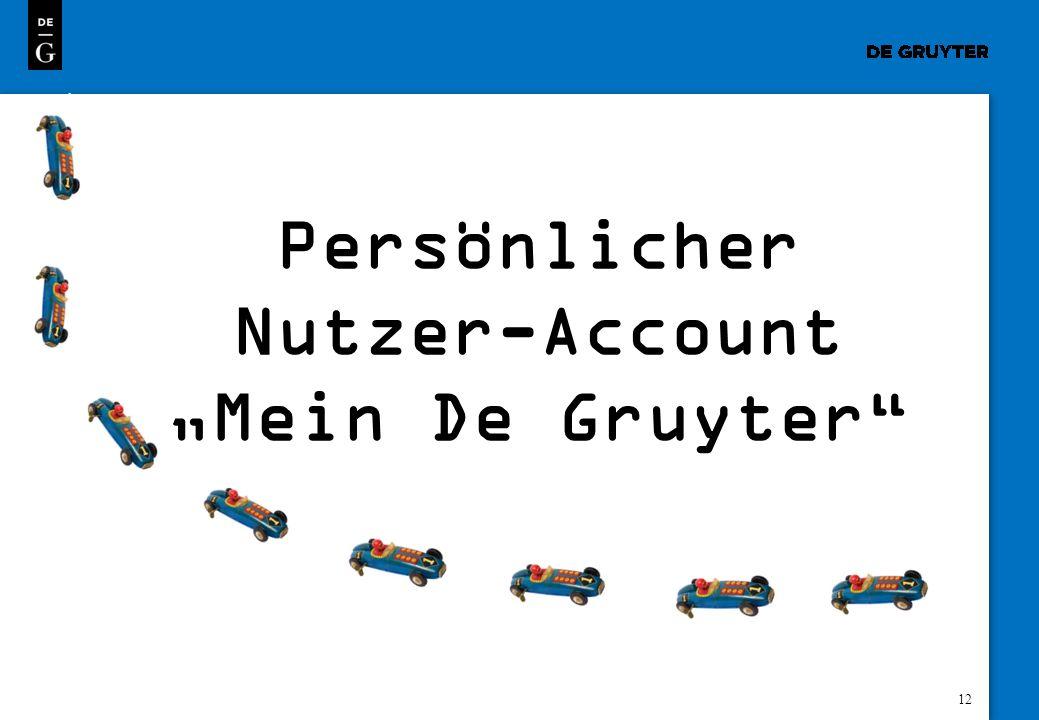 12 Persönlicher Nutzer-Account Mein De Gruyter