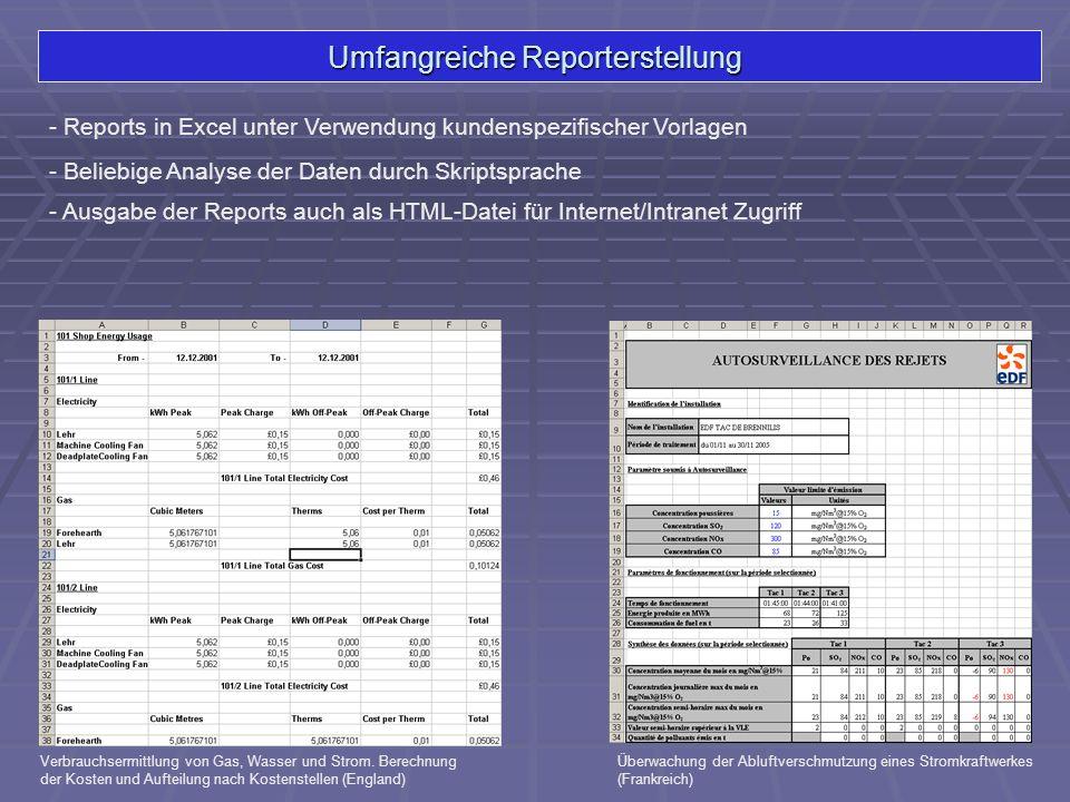 Umfangreiche Reporterstellung - Reports in Excel unter Verwendung kundenspezifischer Vorlagen Verbrauchsermittlung von Gas, Wasser und Strom. Berechnu