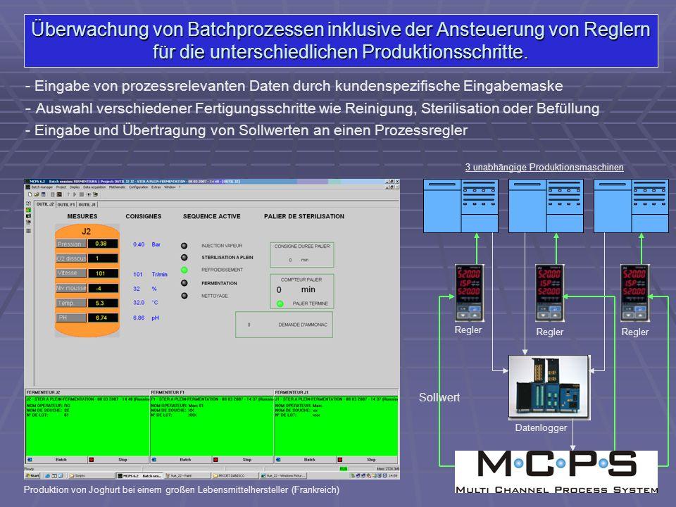 Überwachung von Batchprozessen inklusive der Ansteuerung von Reglern für die unterschiedlichen Produktionsschritte. - Eingabe von prozessrelevanten Da