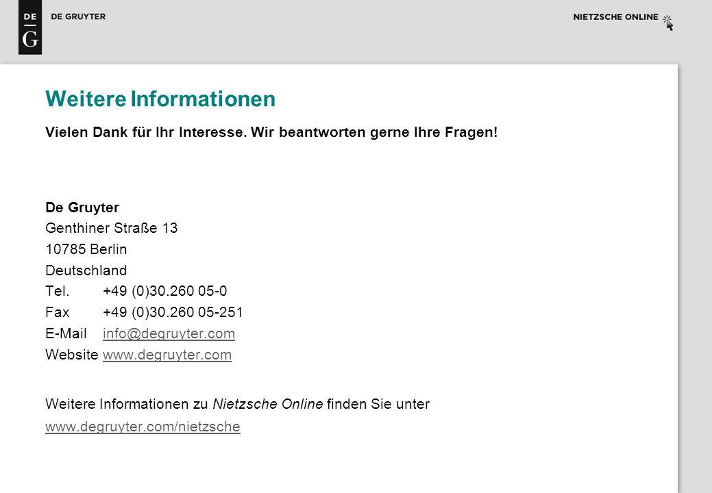 Weitere Informationen Vielen Dank für Ihr Interesse. Wir beantworten gerne Ihre Fragen! De Gruyter Genthiner Straße 13 10785 Berlin Deutschland Tel.+4
