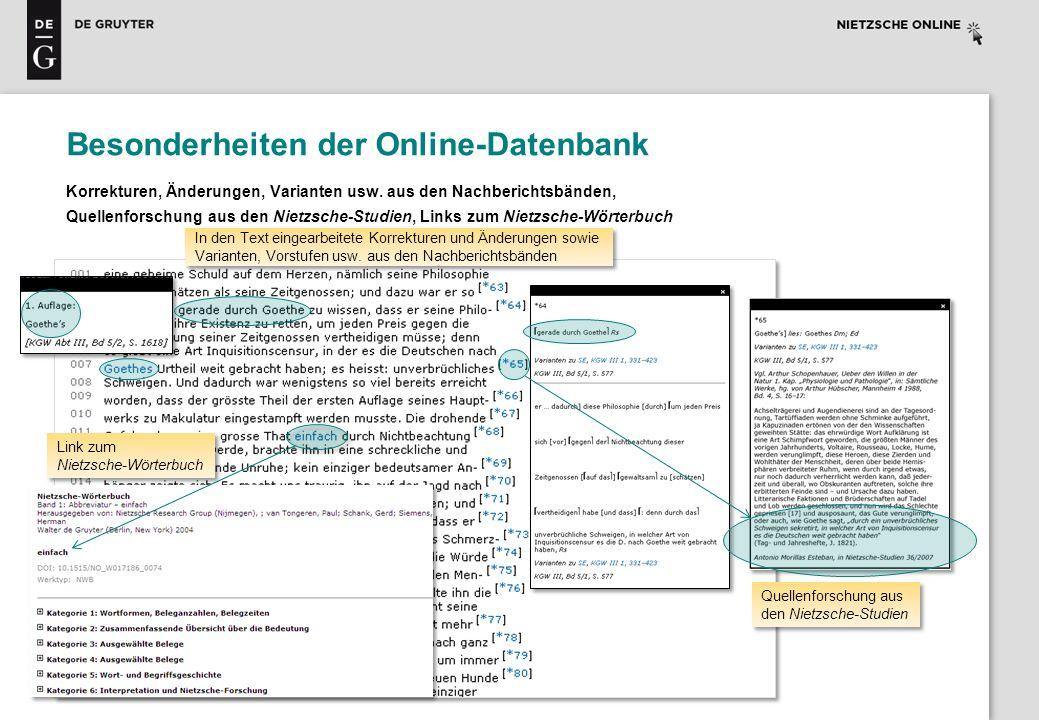 Besonderheiten der Online-Datenbank Korrekturen, Änderungen, Varianten usw. aus den Nachberichtsbänden, Quellenforschung aus den Nietzsche-Studien, Li