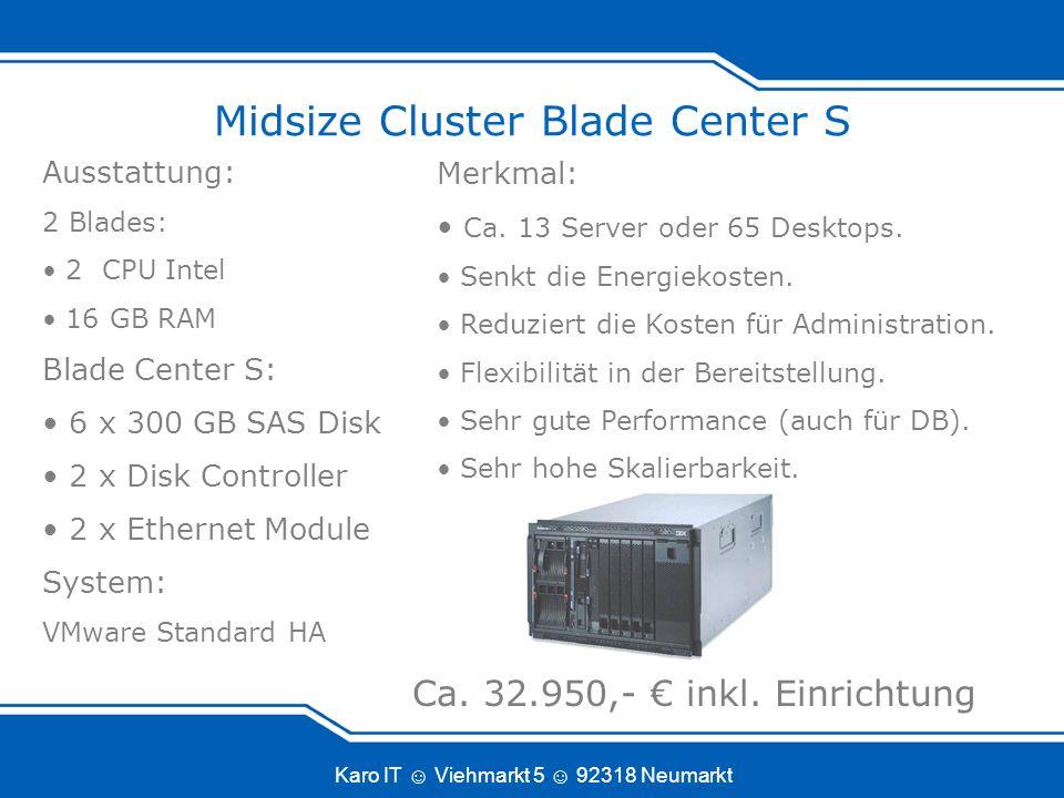Karo IT Viehmarkt 5 92318 Neumarkt Midsize Cluster Blade Center S Merkmal: Ca.