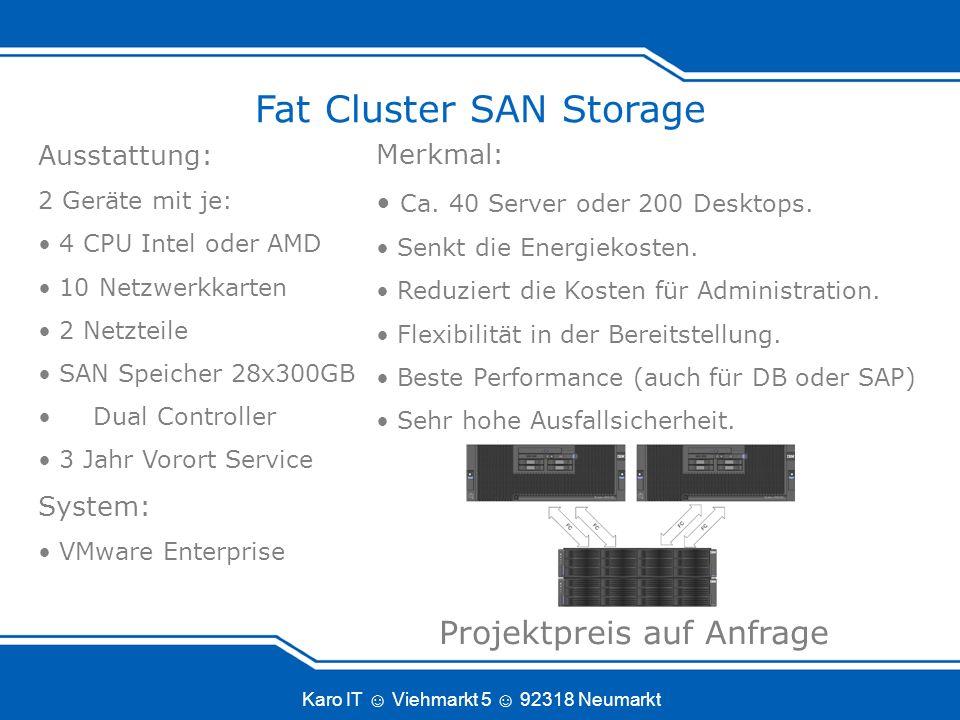 Karo IT Viehmarkt 5 92318 Neumarkt Fat Cluster SAN Storage Merkmal: Ca.