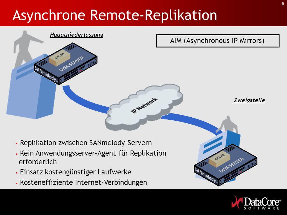 8 Asynchrone Remote-Replikation Replikation zwischen SANmelody-Servern Kein Anwendungsserver-Agent für Replikation erforderlich Einsatz kostengünstiger Laufwerke Kosteneffiziente Internet-Verbindungen Hauptniederlassung Zweigstelle AIM (Asynchronous IP Mirrors)