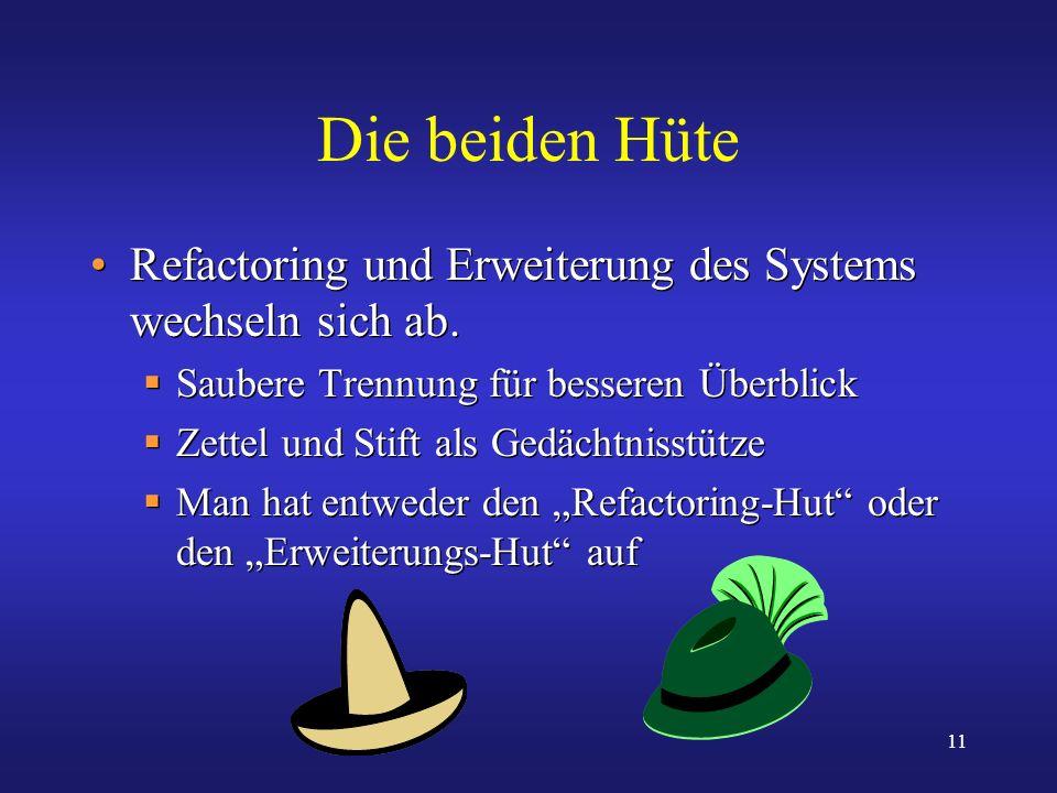 11 Die beiden Hüte Refactoring und Erweiterung des Systems wechseln sich ab. Saubere Trennung für besseren Überblick Zettel und Stift als Gedächtnisst