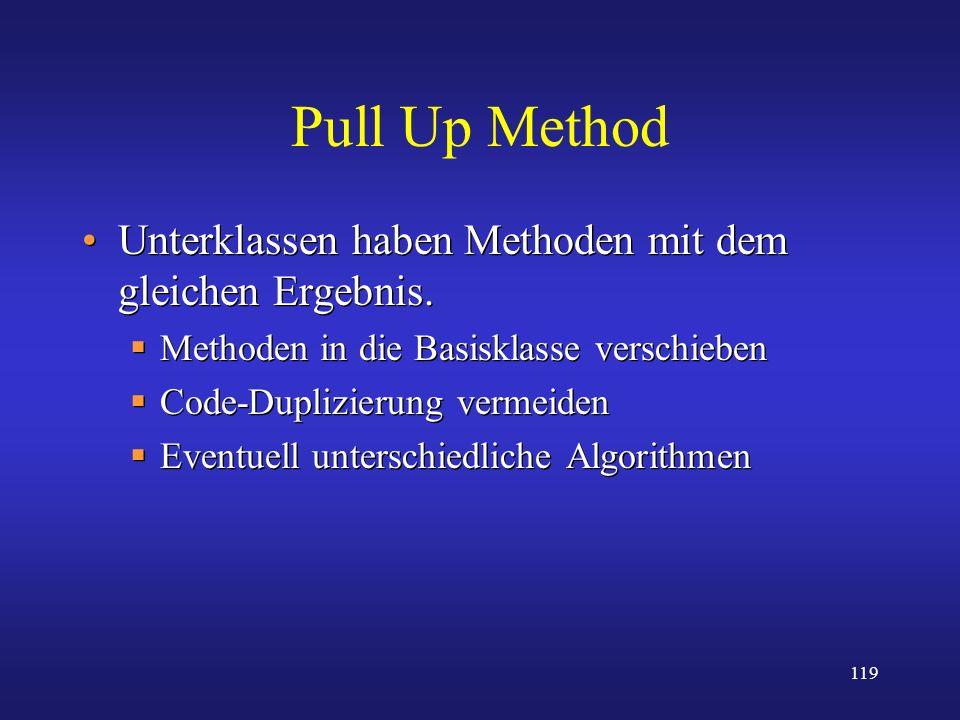 119 Pull Up Method Unterklassen haben Methoden mit dem gleichen Ergebnis. Methoden in die Basisklasse verschieben Code-Duplizierung vermeiden Eventuel