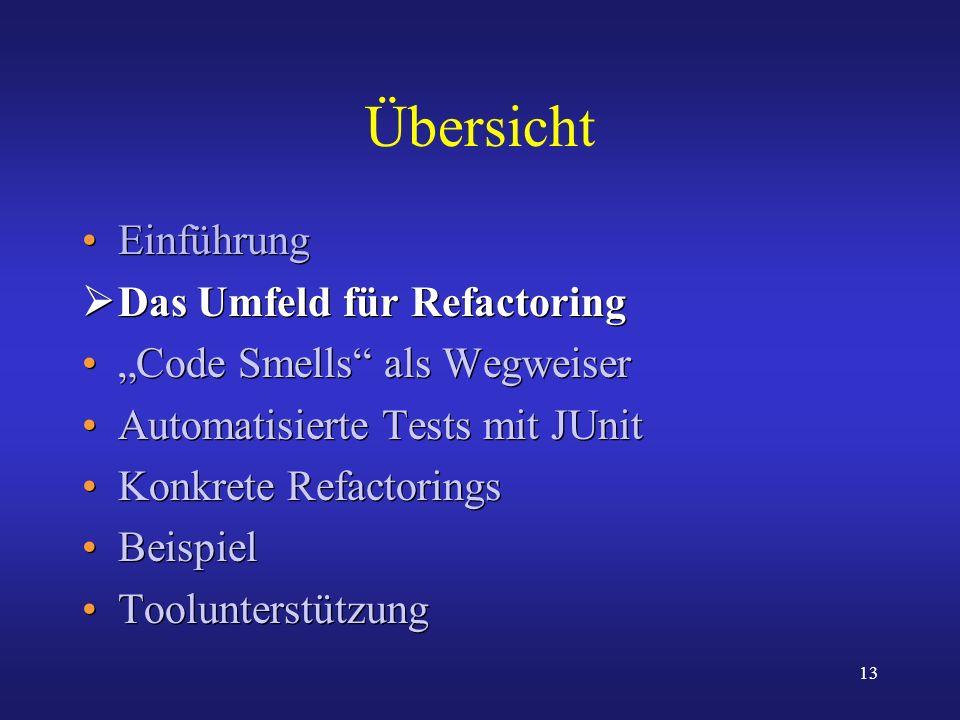 13 Übersicht Einführung Das Umfeld für Refactoring Code Smells als Wegweiser Automatisierte Tests mit JUnit Konkrete Refactorings Beispiel Toolunterst