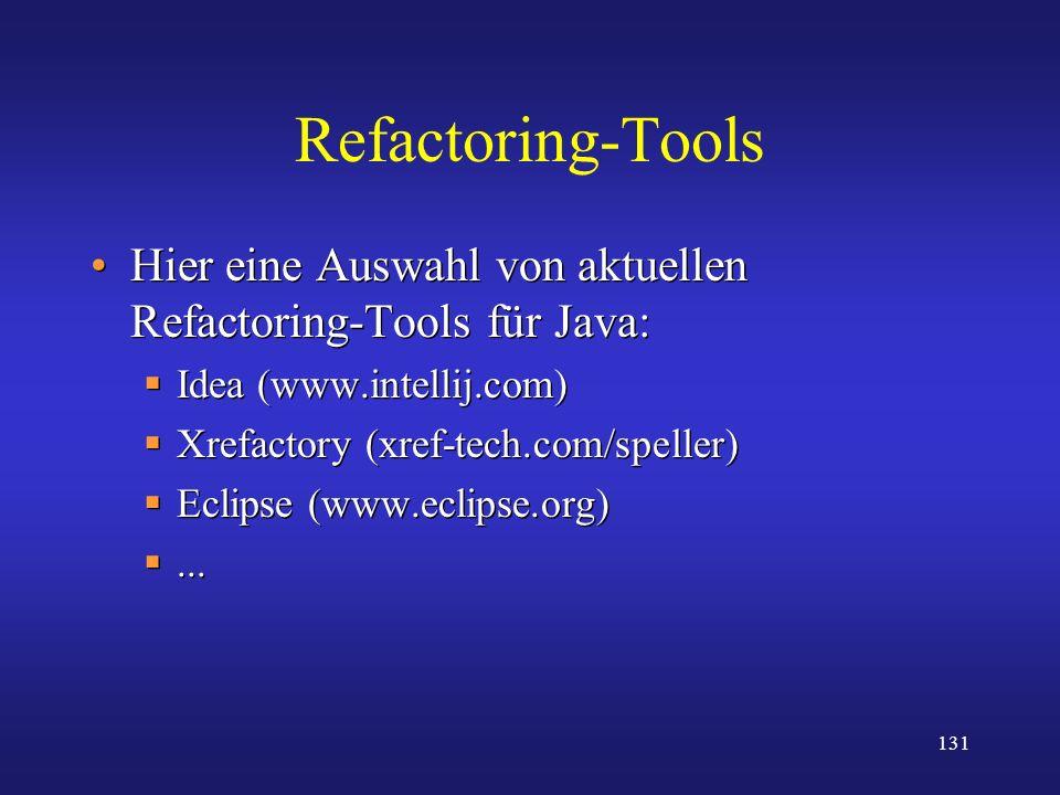 131 Refactoring-Tools Hier eine Auswahl von aktuellen Refactoring-Tools für Java: Idea (www.intellij.com) Xrefactory (xref-tech.com/speller) Eclipse (