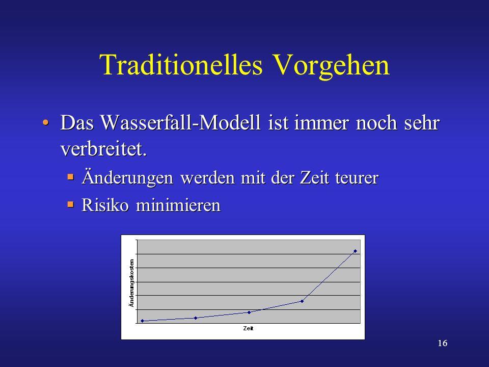 16 Traditionelles Vorgehen Das Wasserfall-Modell ist immer noch sehr verbreitet. Änderungen werden mit der Zeit teurer Risiko minimieren Das Wasserfal