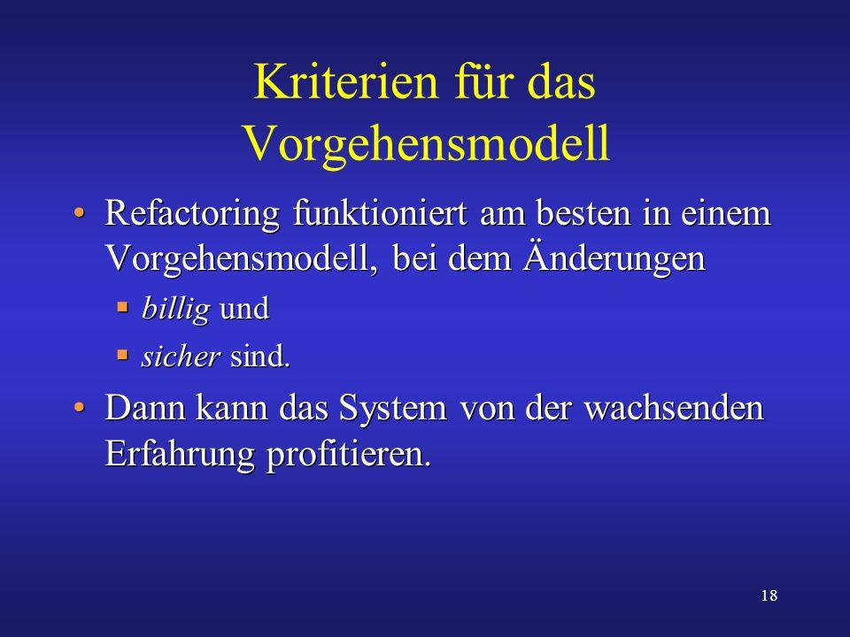 18 Kriterien für das Vorgehensmodell Refactoring funktioniert am besten in einem Vorgehensmodell, bei dem Änderungen billig und sicher sind. Dann kann