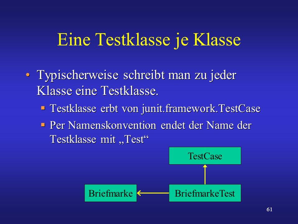 61 Eine Testklasse je Klasse Typischerweise schreibt man zu jeder Klasse eine Testklasse. Testklasse erbt von junit.framework.TestCase Per Namenskonve