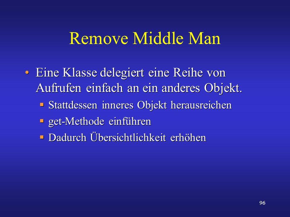 96 Remove Middle Man Eine Klasse delegiert eine Reihe von Aufrufen einfach an ein anderes Objekt. Stattdessen inneres Objekt herausreichen get-Methode