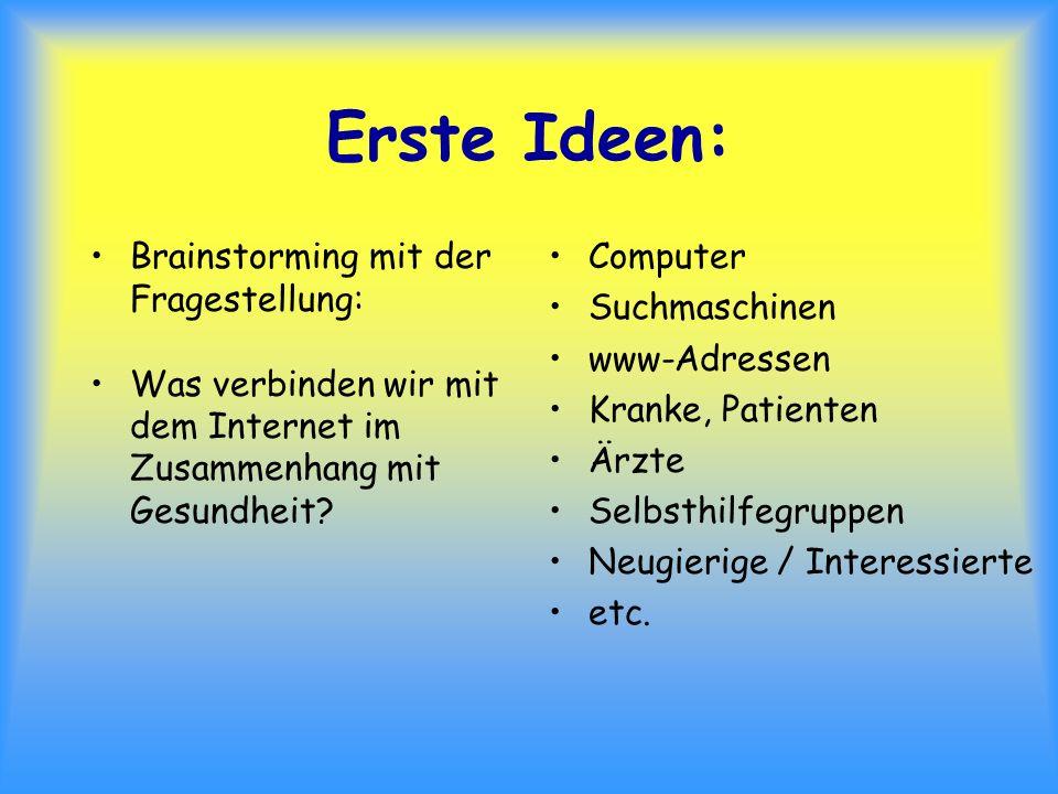 Erste Ideen: Brainstorming mit der Fragestellung: Was verbinden wir mit dem Internet im Zusammenhang mit Gesundheit? Computer Suchmaschinen www-Adress