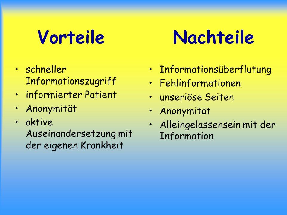 Vorteile Nachteile schneller Informationszugriff informierter Patient Anonymität aktive Auseinandersetzung mit der eigenen Krankheit Informationsüberf