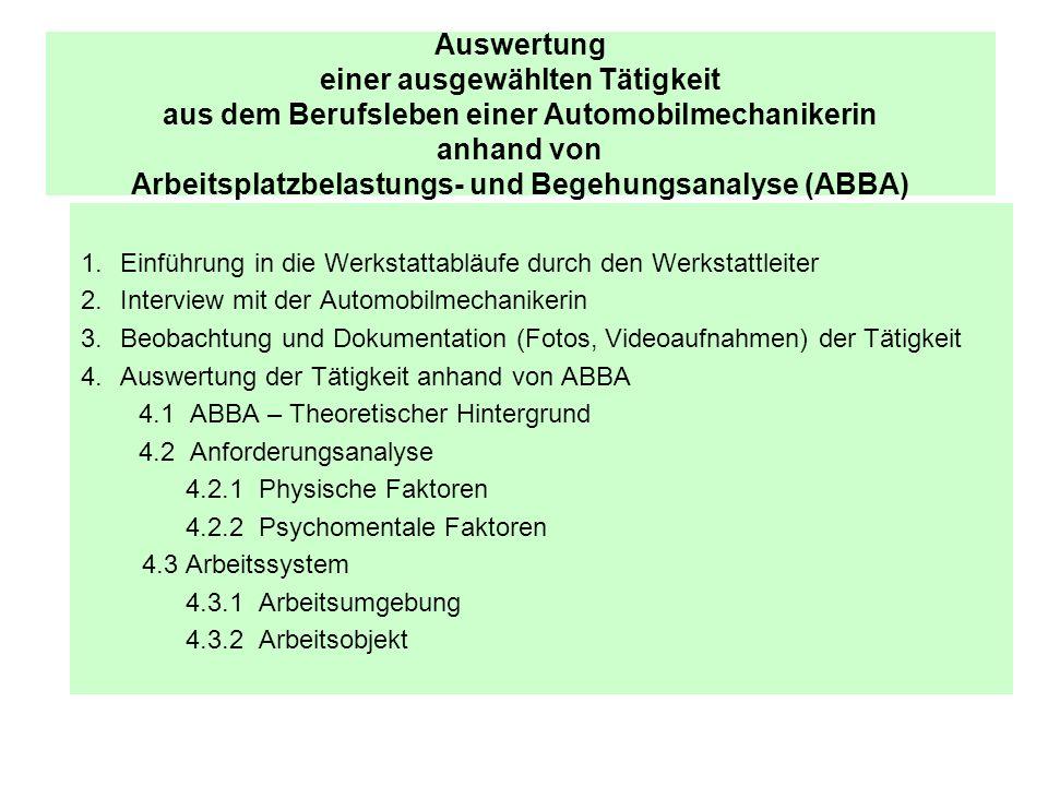 Auswertung der Tätigkeit des Busreifenwechsels anhand von ABBA