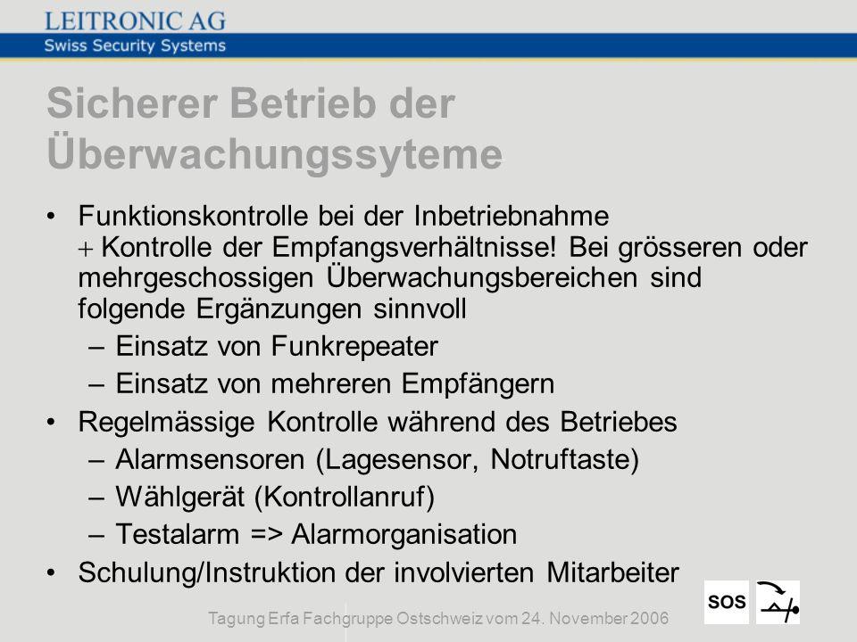 Tagung Erfa Fachgruppe Ostschweiz vom 24. November 2006 Sicherer Betrieb der Überwachungssyteme Funktionskontrolle bei der Inbetriebnahme Kontrolle de