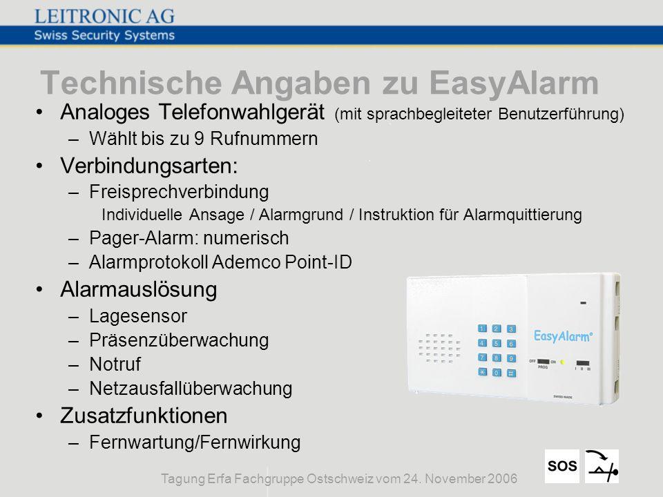 Tagung Erfa Fachgruppe Ostschweiz vom 24. November 2006 Technische Angaben zu EasyAlarm Analoges Telefonwahlgerät (mit sprachbegleiteter Benutzerführu