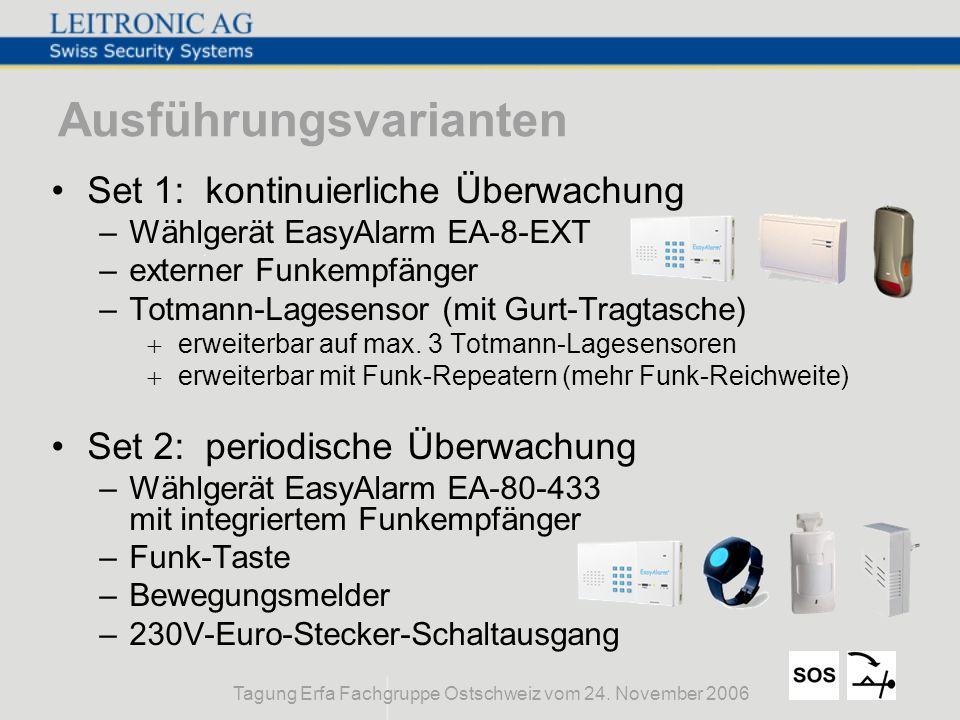 Tagung Erfa Fachgruppe Ostschweiz vom 24. November 2006 Ausführungsvarianten Set 1: kontinuierliche Überwachung –Wählgerät EasyAlarm EA-8-EXT –externe