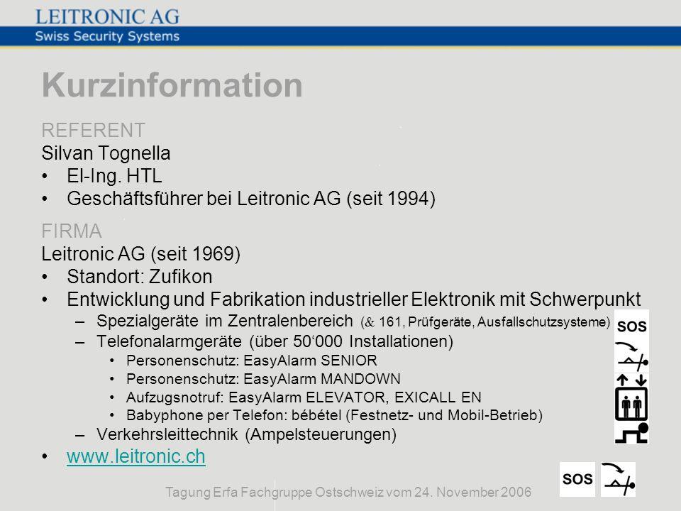 Tagung Erfa Fachgruppe Ostschweiz vom 24. November 2006 Kurzinformation REFERENT Silvan Tognella El-Ing. HTL Geschäftsführer bei Leitronic AG (seit 19