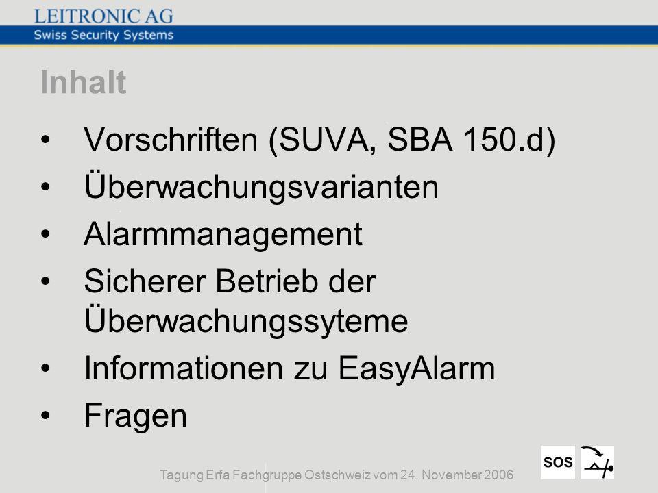 Tagung Erfa Fachgruppe Ostschweiz vom 24. November 2006 Inhalt Vorschriften (SUVA, SBA 150.d) Überwachungsvarianten Alarmmanagement Sicherer Betrieb d