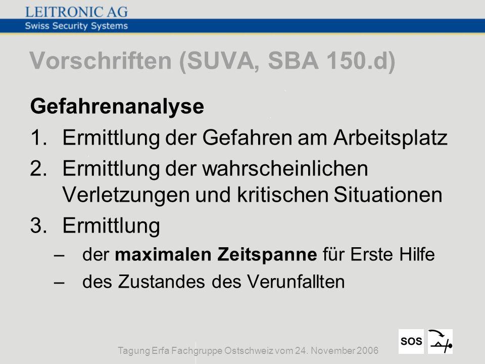 Tagung Erfa Fachgruppe Ostschweiz vom 24. November 2006 Vorschriften (SUVA, SBA 150.d) Gefahrenanalyse 1.Ermittlung der Gefahren am Arbeitsplatz 2.Erm