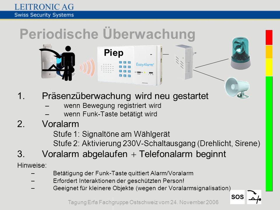 Tagung Erfa Fachgruppe Ostschweiz vom 24. November 2006 Periodische Überwachung 1.Präsenzüberwachung wird neu gestartet –wenn Bewegung registriert wir