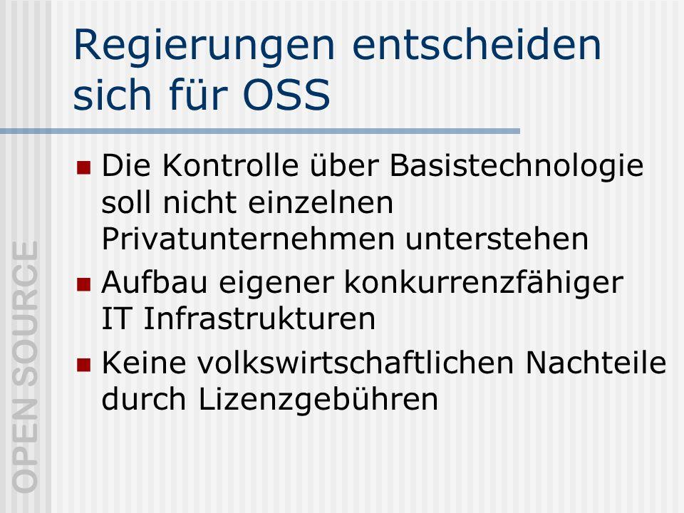 OPEN SOURCE Regierungen entscheiden sich für OSS Die Kontrolle über Basistechnologie soll nicht einzelnen Privatunternehmen unterstehen Aufbau eigener konkurrenzfähiger IT Infrastrukturen Keine volkswirtschaftlichen Nachteile durch Lizenzgebühren