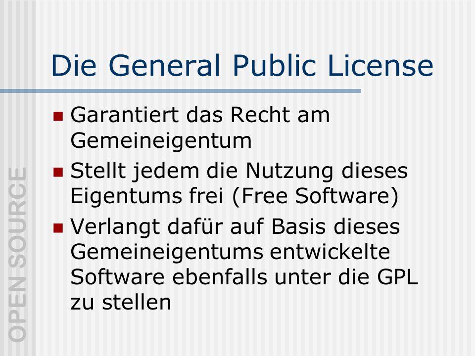 OPEN SOURCE Die General Public License Garantiert das Recht am Gemeineigentum Stellt jedem die Nutzung dieses Eigentums frei (Free Software) Verlangt dafür auf Basis dieses Gemeineigentums entwickelte Software ebenfalls unter die GPL zu stellen
