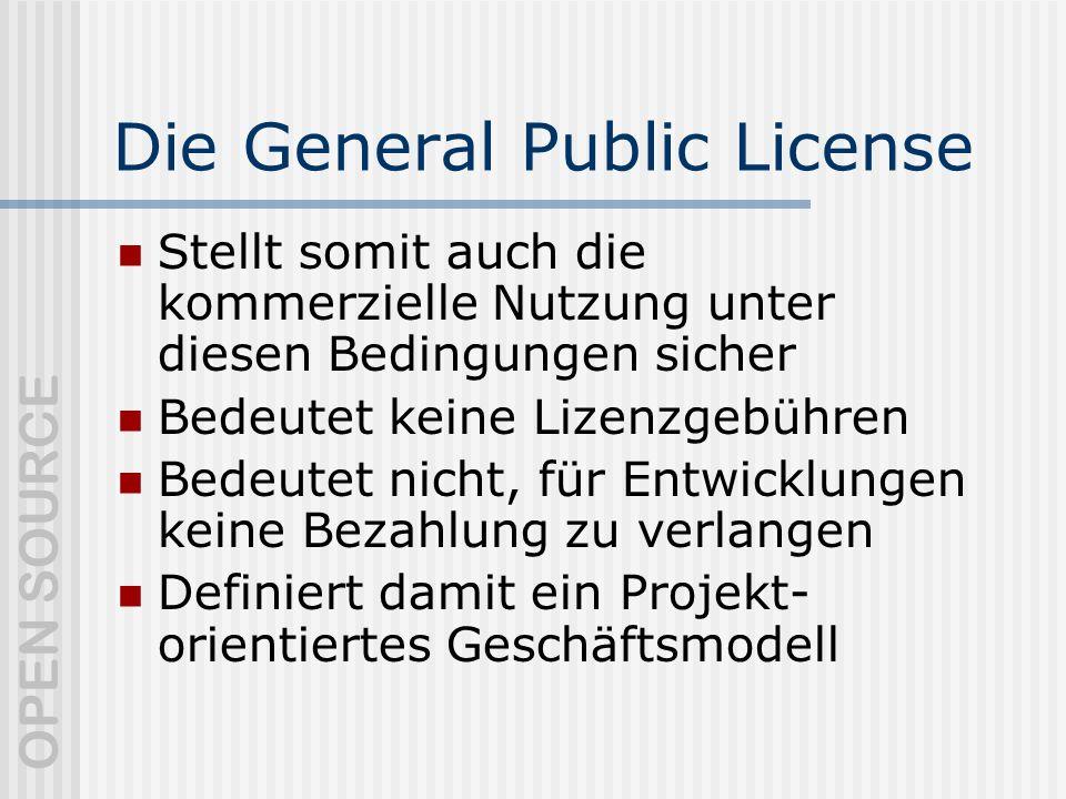 OPEN SOURCE Die General Public License Stellt somit auch die kommerzielle Nutzung unter diesen Bedingungen sicher Bedeutet keine Lizenzgebühren Bedeutet nicht, für Entwicklungen keine Bezahlung zu verlangen Definiert damit ein Projekt- orientiertes Geschäftsmodell