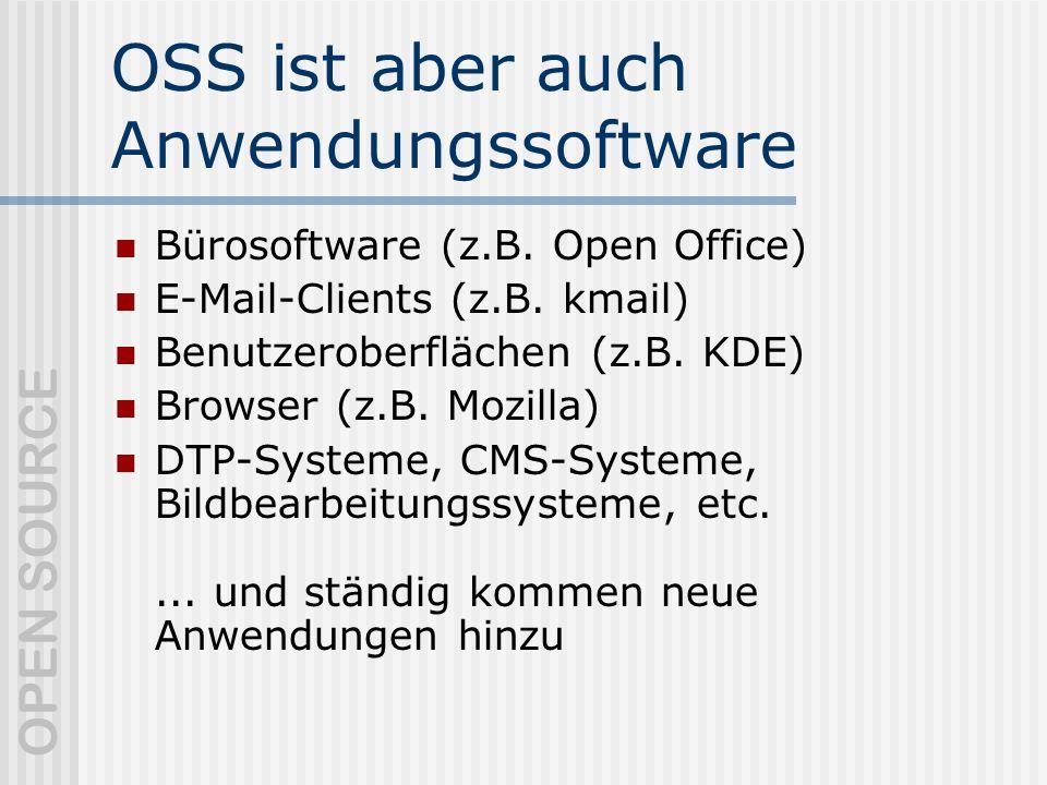 OPEN SOURCE OSS ist aber auch Anwendungssoftware Bürosoftware (z.B.